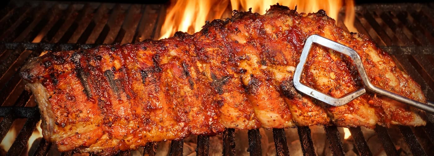 Rack of Ribs on a Grill