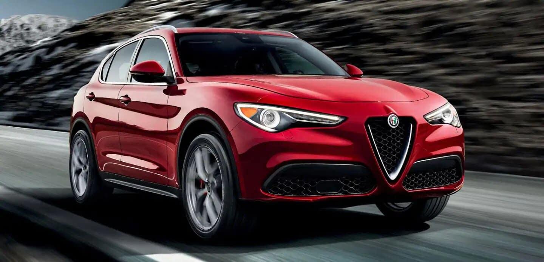 Red Alfa Rome Stelvio Crusing