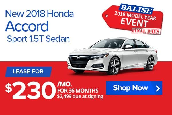 New 2018 Honda Accord Sport 1.5T Sedan