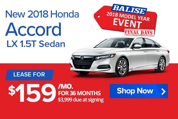 New 2018 Honda Accord LX 1.5T Sedan