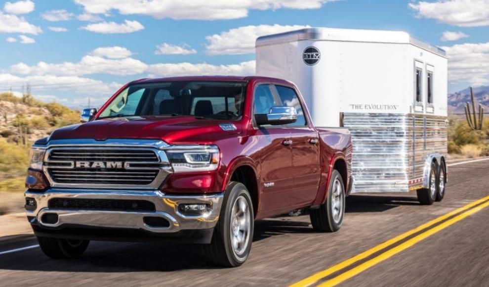 2019 RAM 1500 pulling a trailer