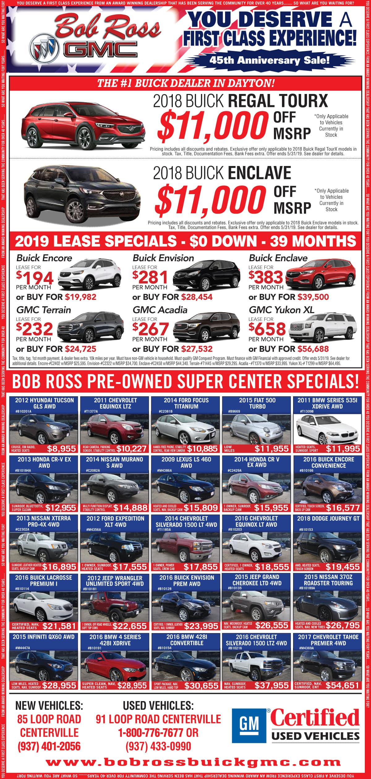 Bob Ross Buick GMC Newspaper Ad May 2019