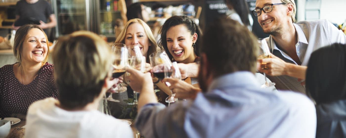 friends toast at restaurant