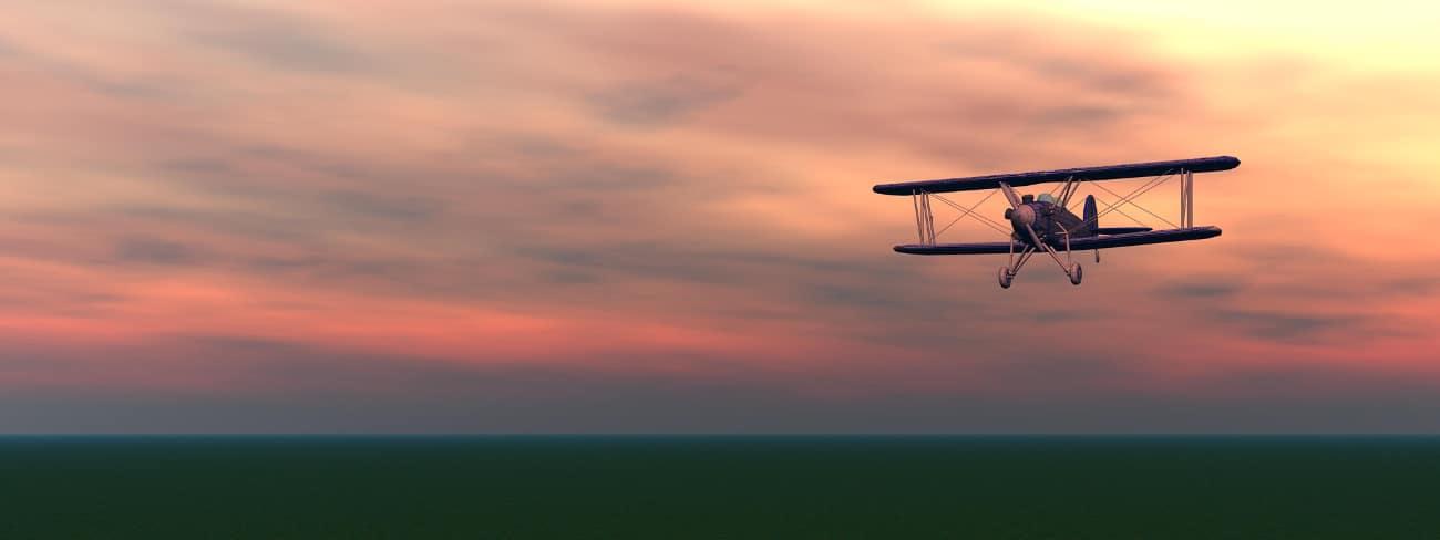 plane in sunset