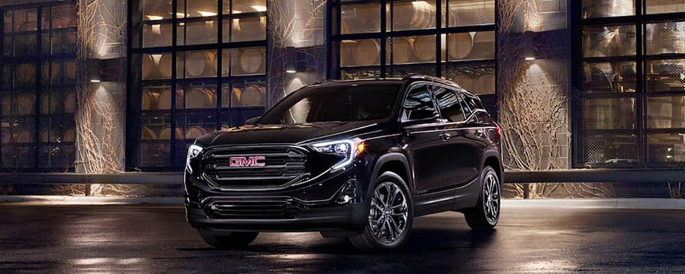 2020 GMC Terrain special editions elevation edition on a rain-swept city street