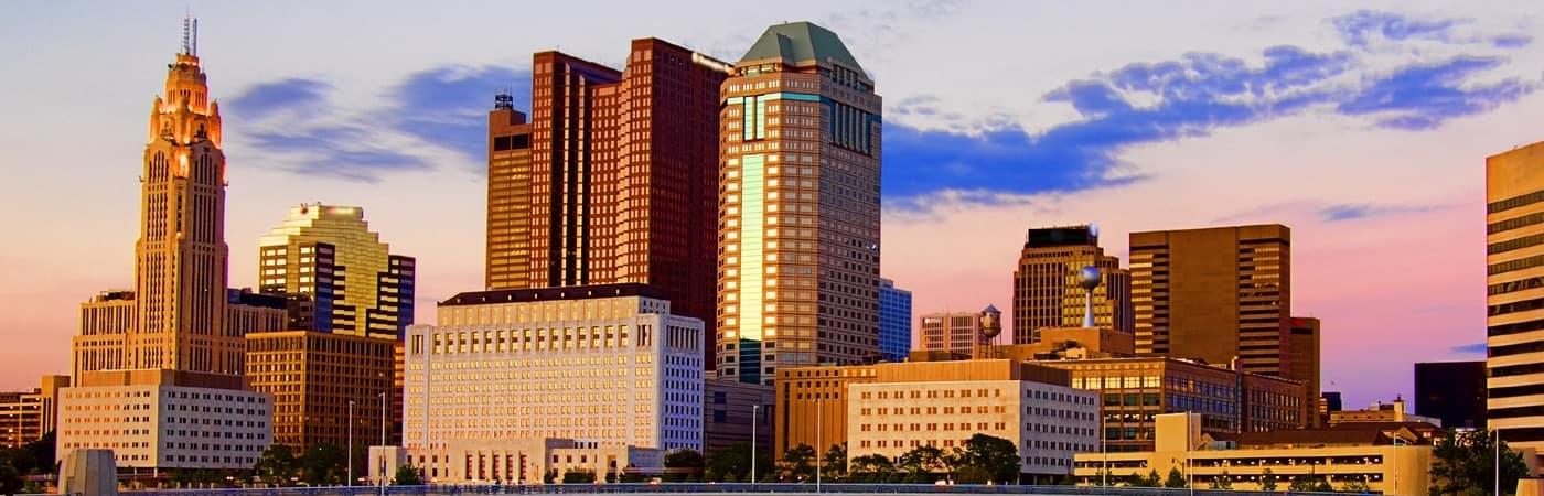 Columbus ohio skyline of city during sunset