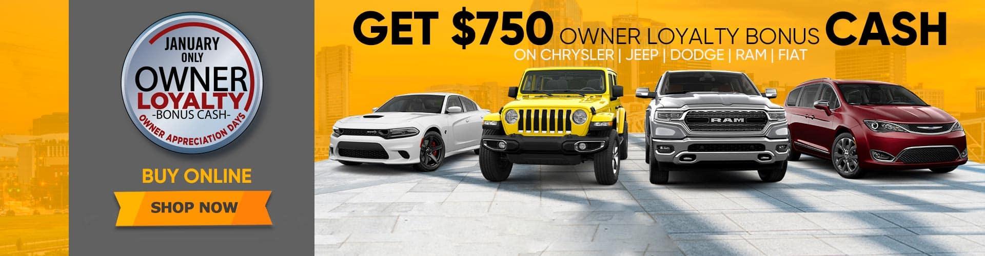 Chrysler Jeep Dodge Ram Fiat Owner Loyalty Bonus Cash