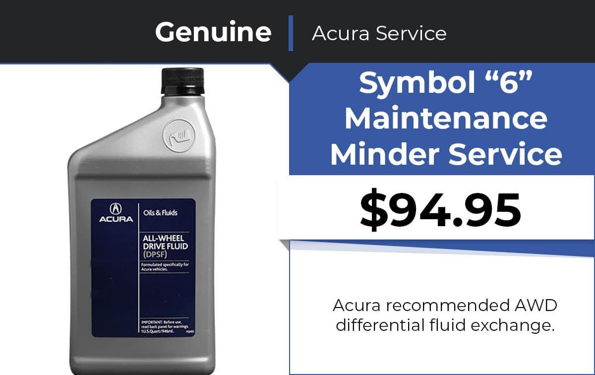Acura Symbol 2 Maintenance Minder Service Special Coupon