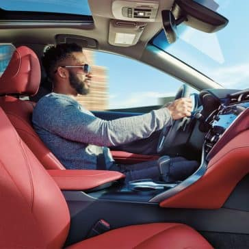 2019-Toyota-Camry-CA-XLE-V6-Passenger-Red-Leather-Interior