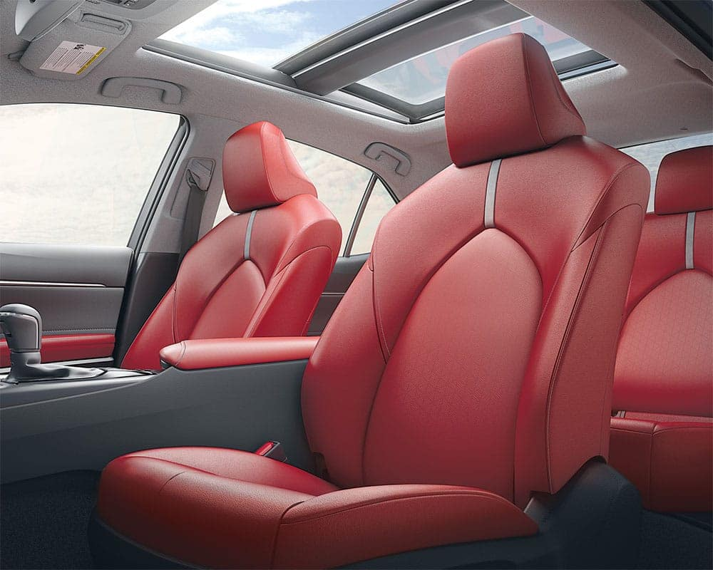 2019-Toyota-Camry-CA-XLE-V6-Red-Leather-Interior