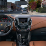 Brown and black interior and dashboard of a Chevy Cruze