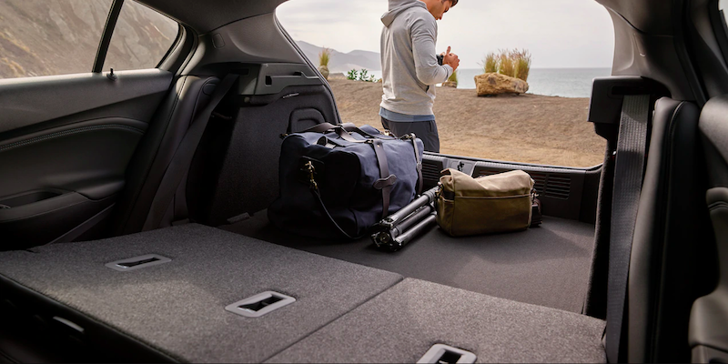 Trunk of a Chevy Cruze with folded down seats