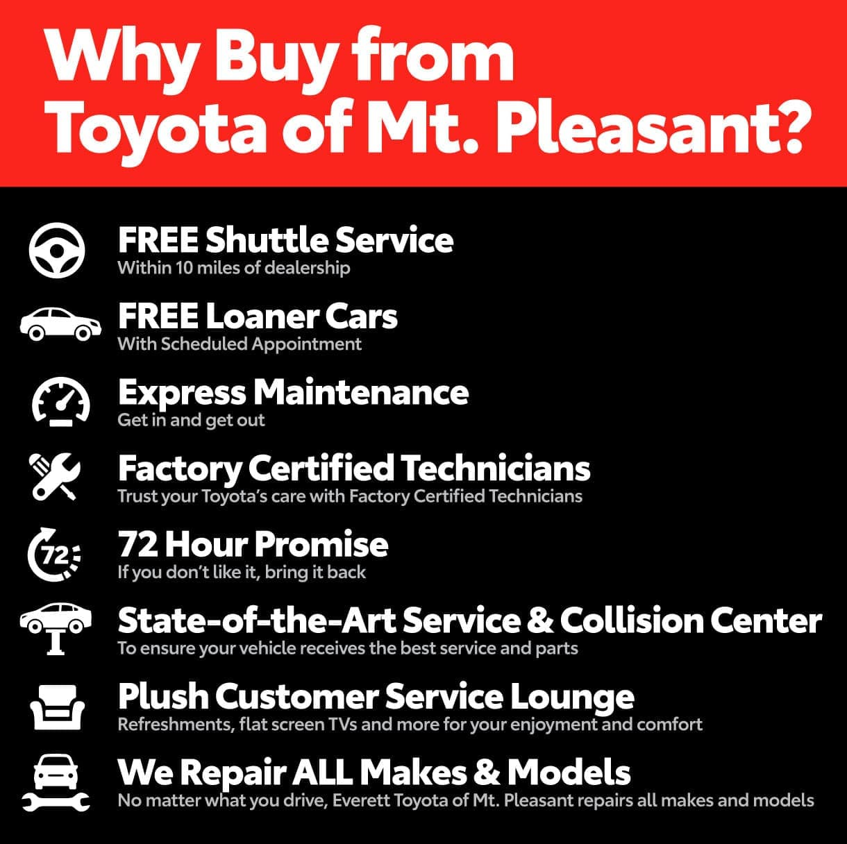 Why Buy from Toyota of Mt. Pleasant? Free Shuttle Service, Free Loaner Cars, Express Maintenance, Factory Certified Technicians, 72 Hour Promise, and more!