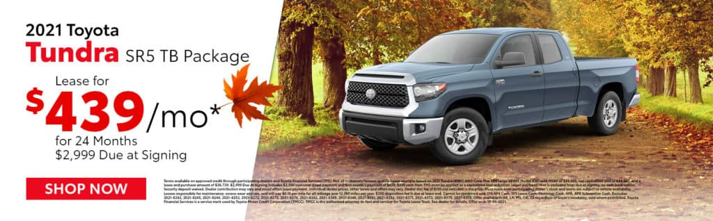Lease a 2021 Toyota Tundra SR5 TB Package for $439/mo for 24 Months