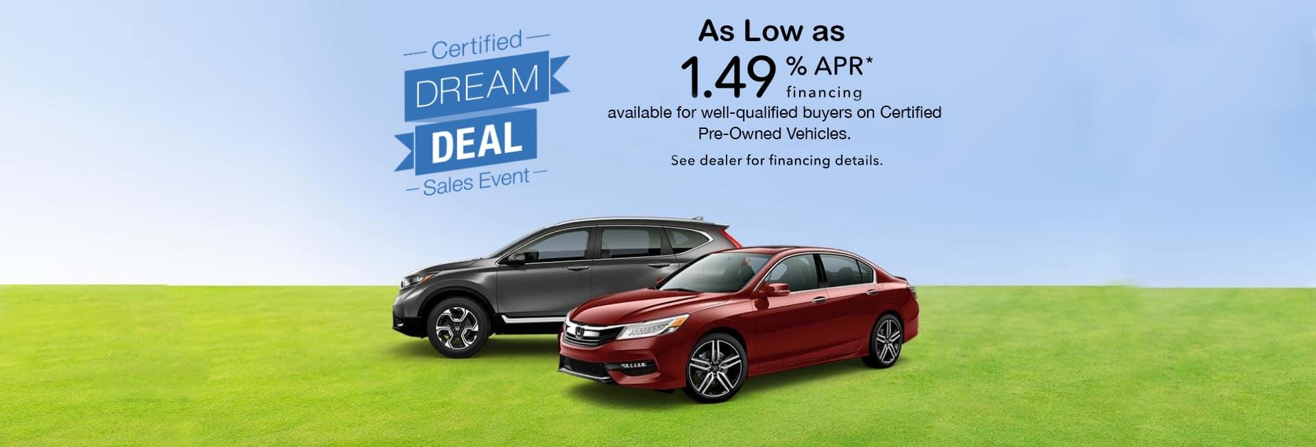 Honda Certified Pre Owned Financing >> Dream Deal Sales Event April 2019 Executive Honda