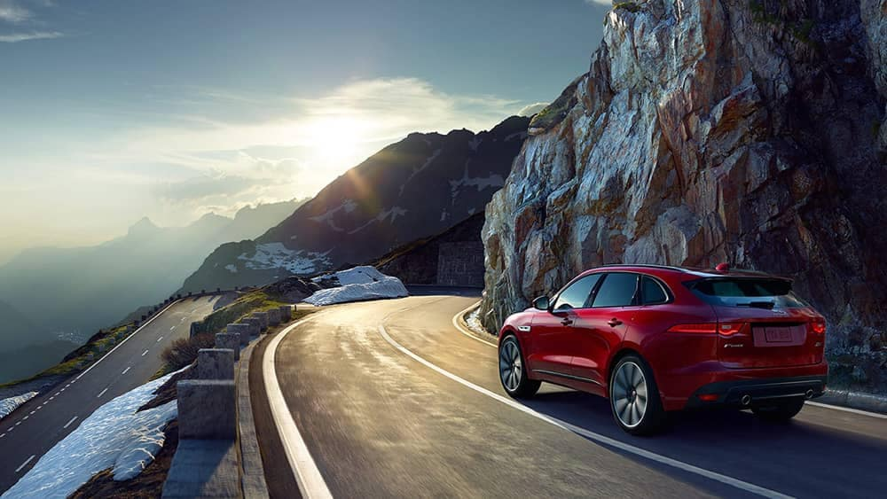2019 Jaguar F-Pace going around curve