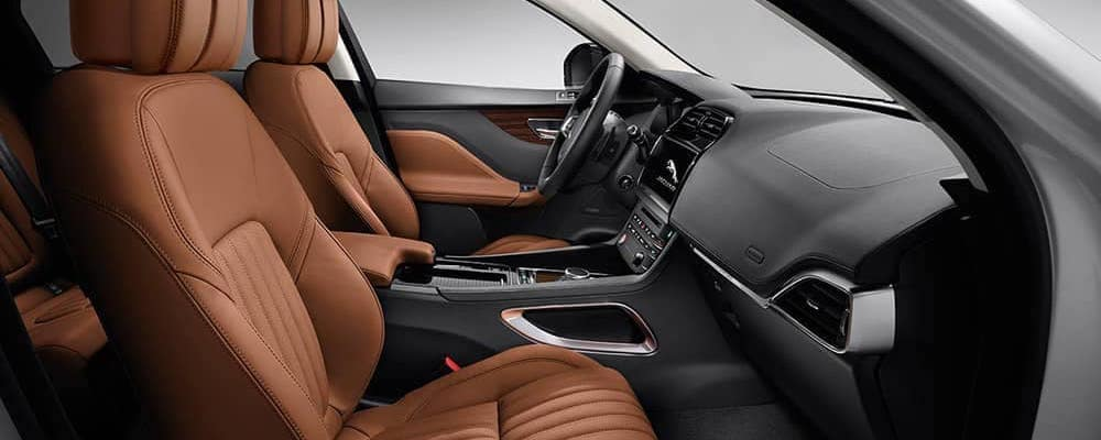 2019 Jaguar F-PACE Interior view of front seats with vintage tan leather