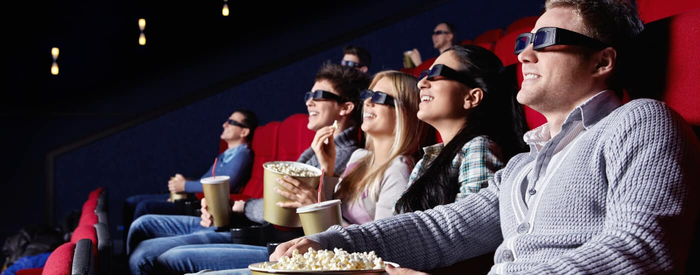 family watching 3d movie