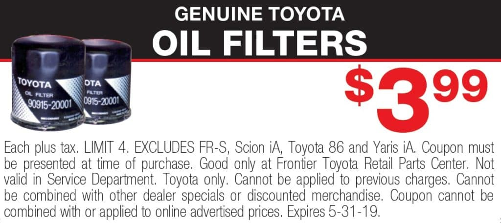 oem toyota parts specials in valencia | genuine parts coupons | frontier