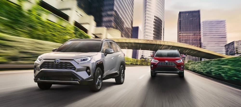 Two 2019 RAV4s Driving in Parallel Down City Highway