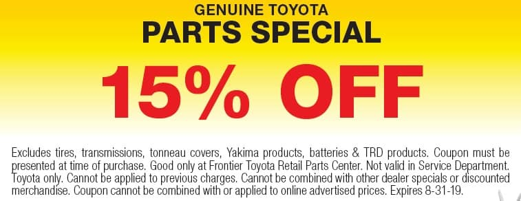 Discount Toyota Parts >> Oem Toyota Parts Specials In Valencia Genuine Parts Coupons Frontier
