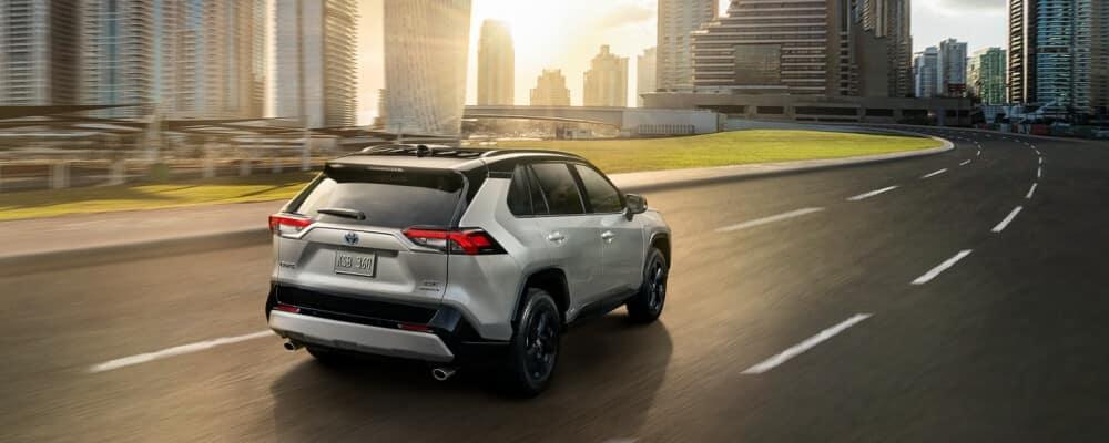 2021 Toyota RAV4 driving into city limits