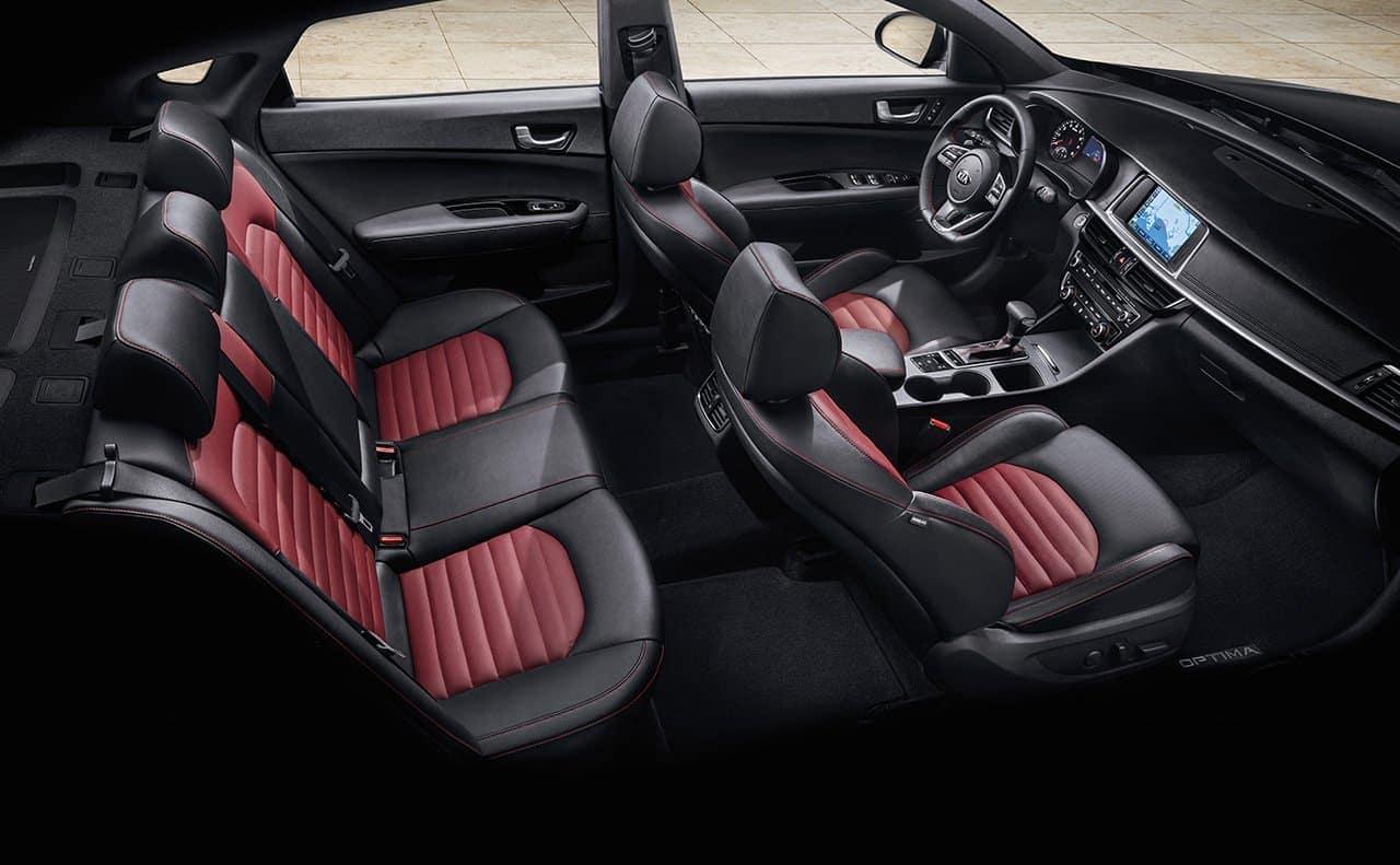 2019 Kia Optima interior in black and red leather