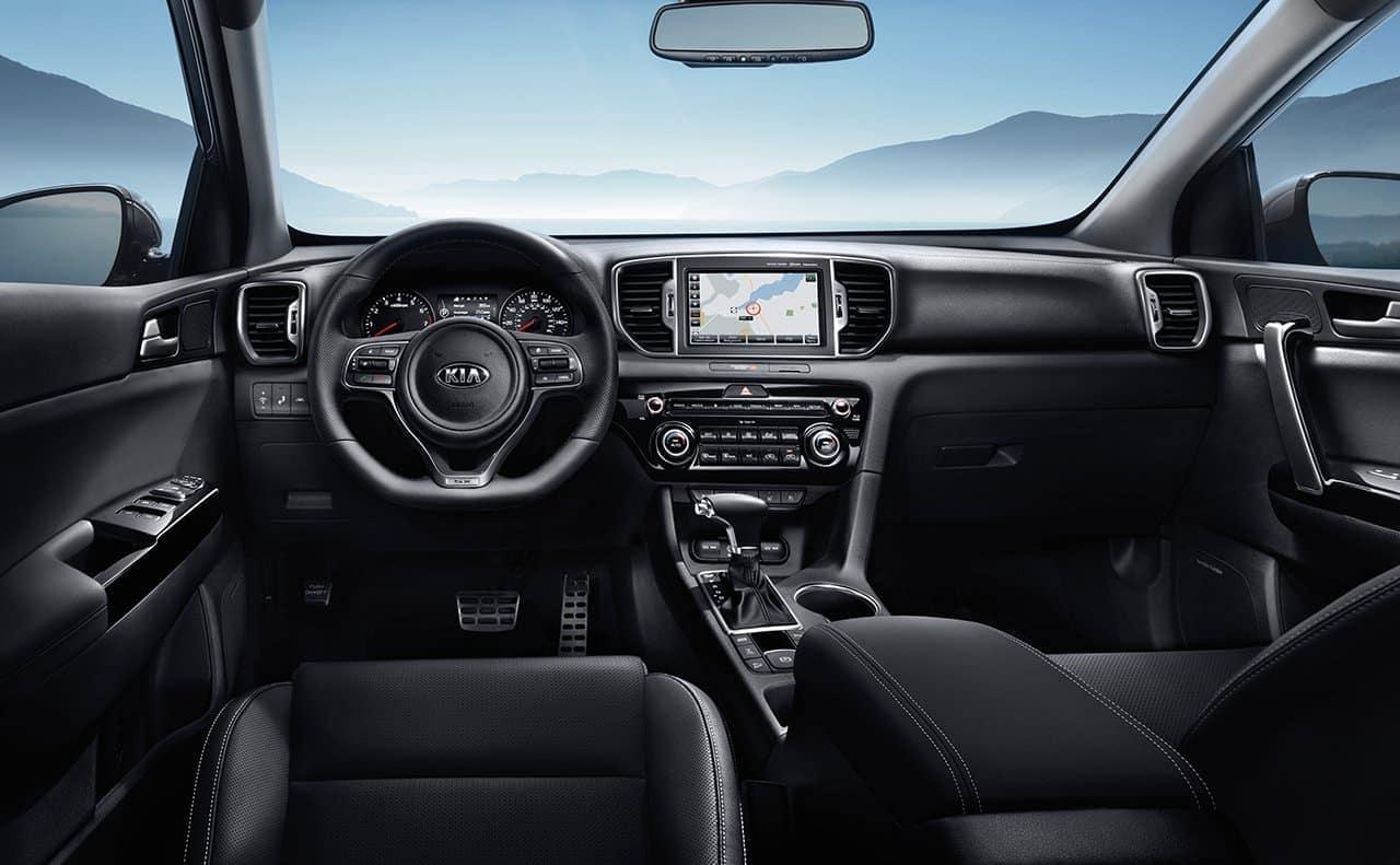 2019 Kia Sportage dashboard and interior in black leather