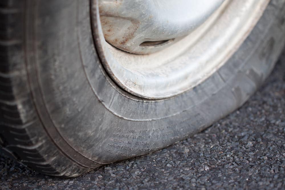 ALT closeup of flat tire