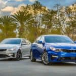 2019 Kia Optima sedan in blue and grey