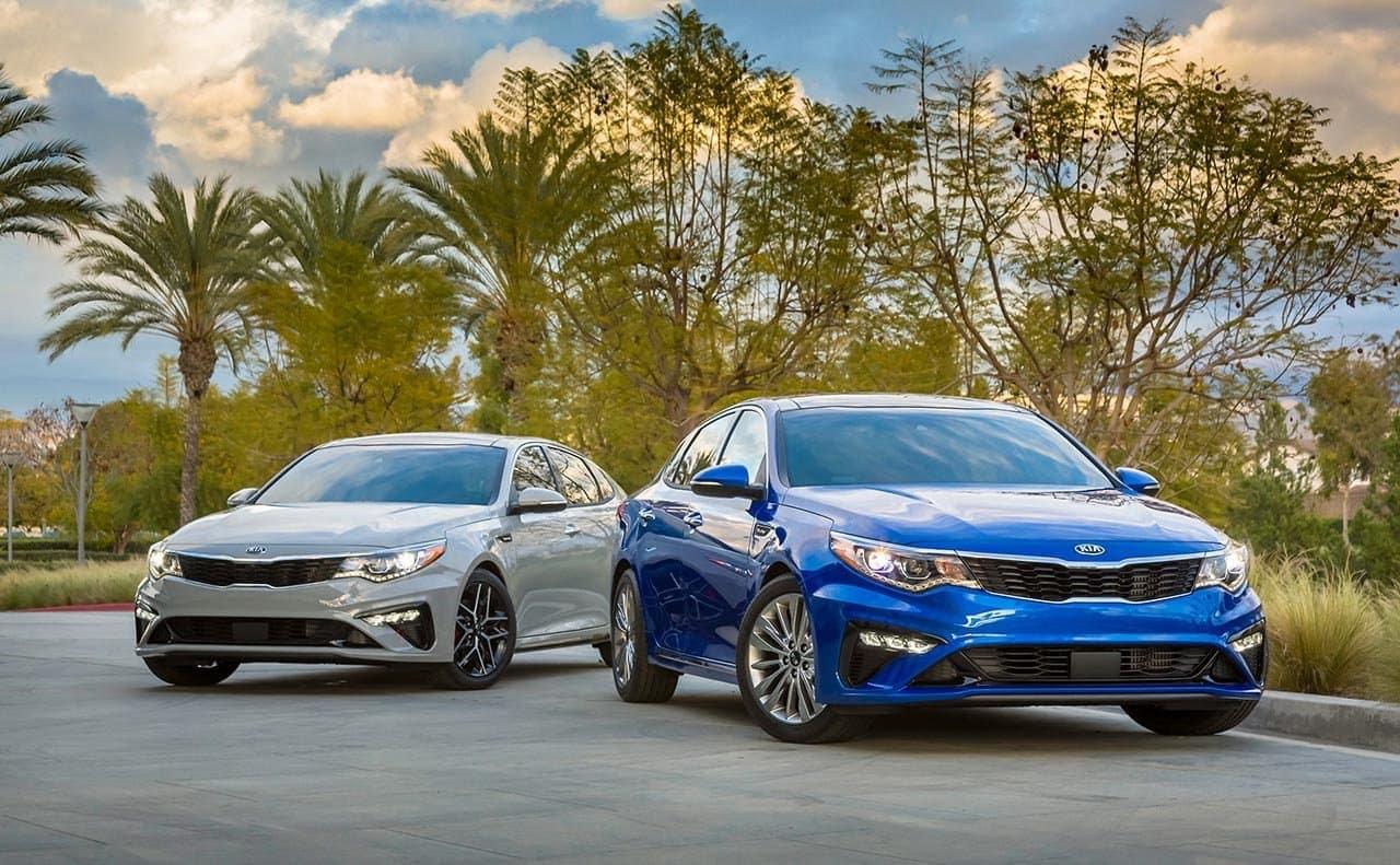 2019 Kia Optima sedan in blue and grey