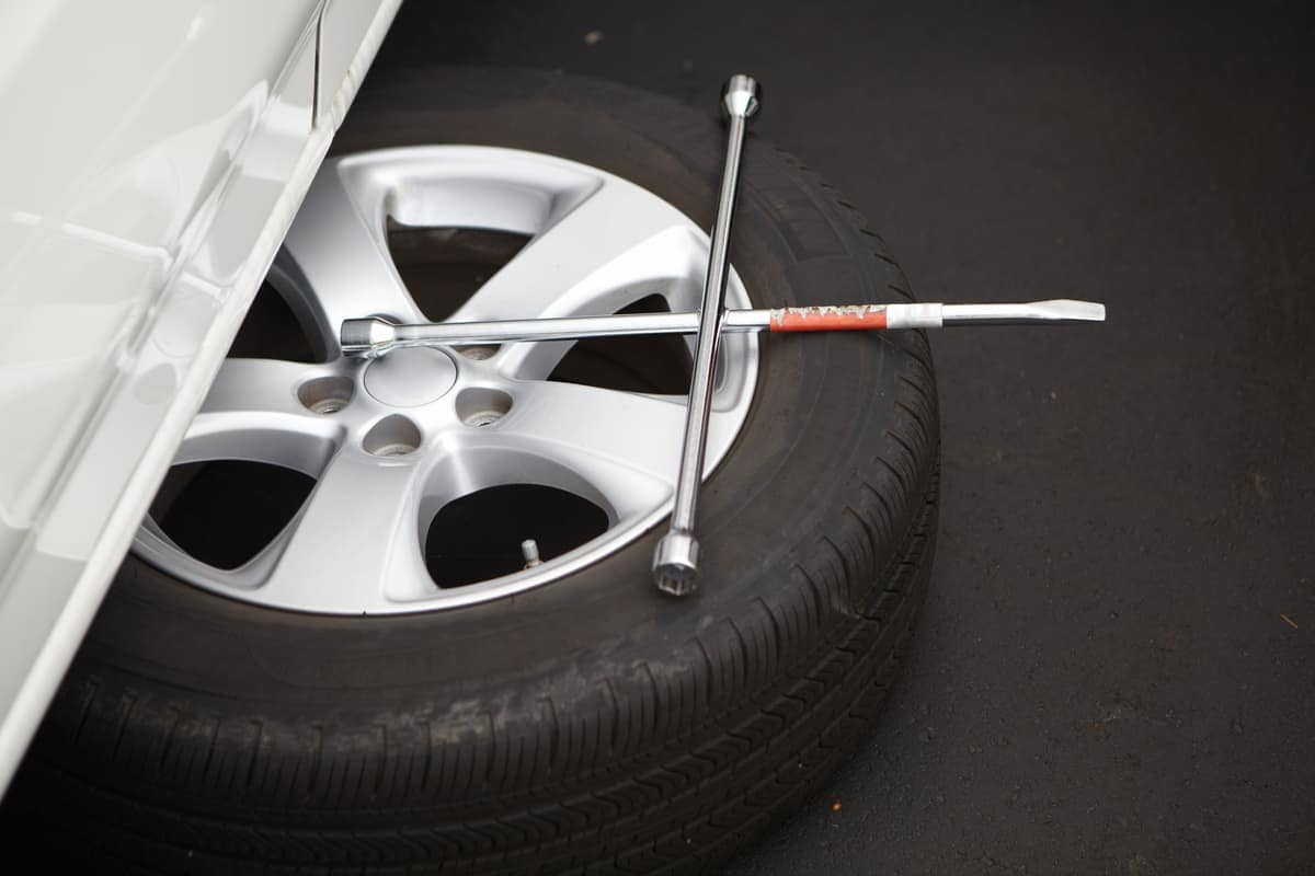 Tire with tire iron