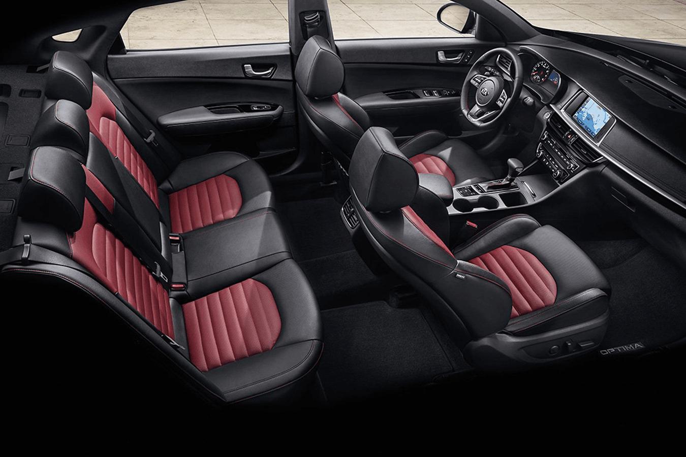 2019 Kia Optima interior in red and black leather