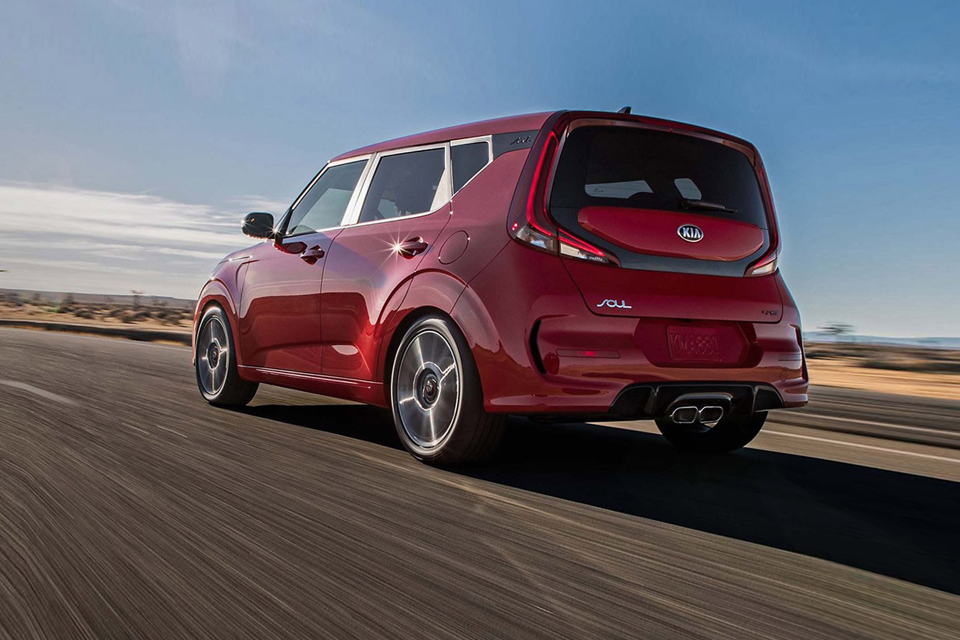 2020 Kia Soul driving down road
