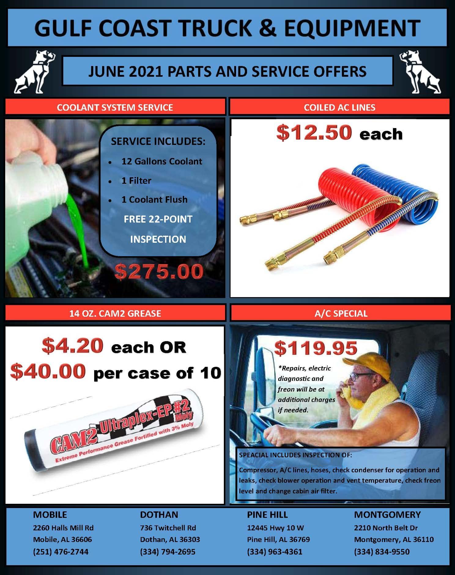 June 2021 Parts & Service Specials