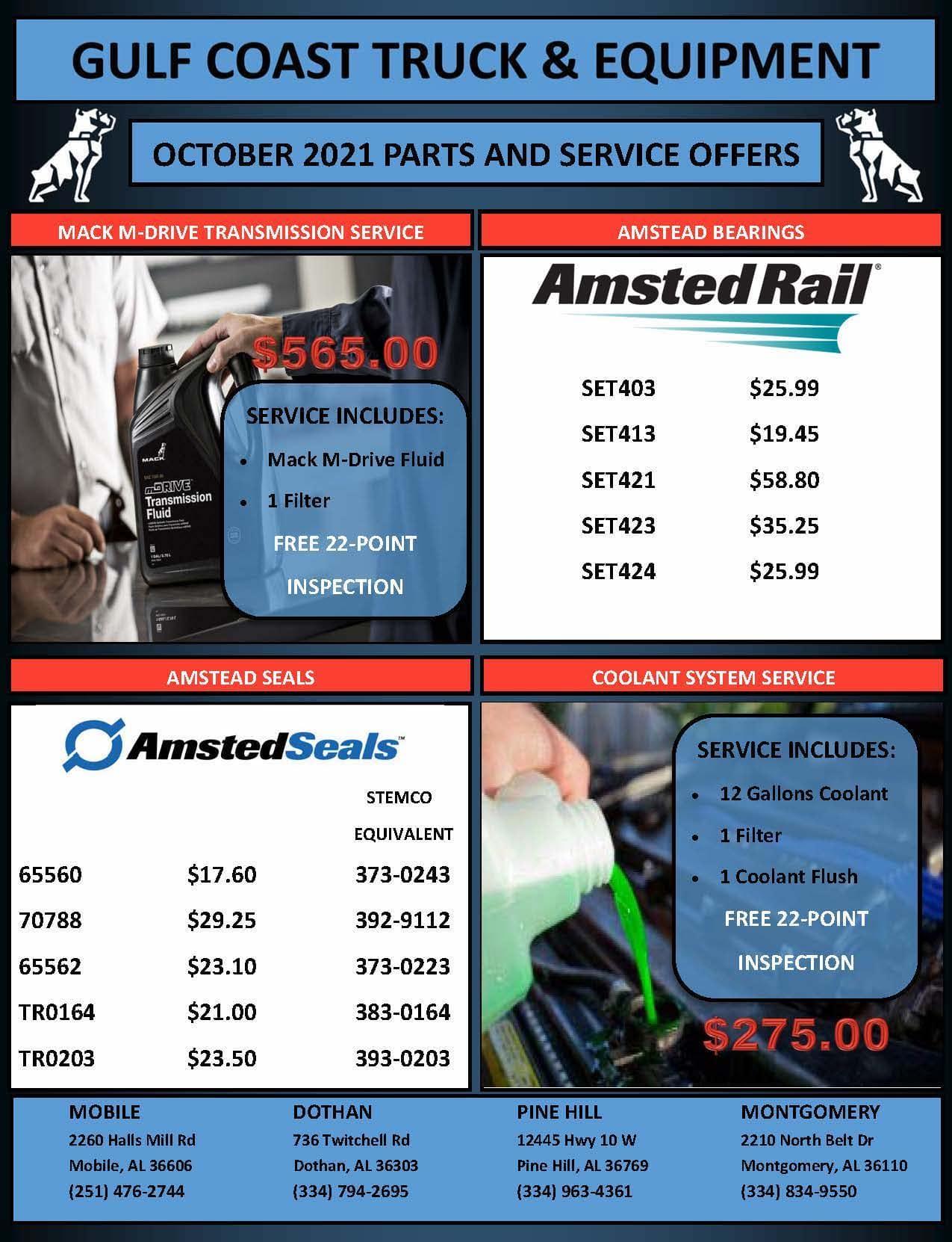 October SErvice & Parts Specials