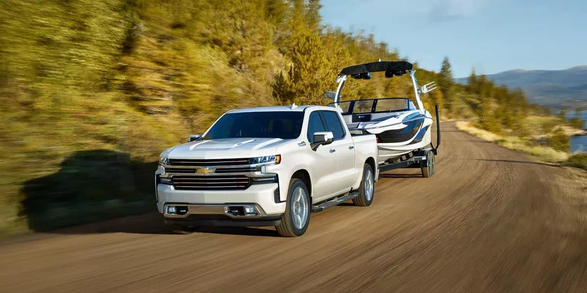 2019 Chevrolet Silverado towing a boat