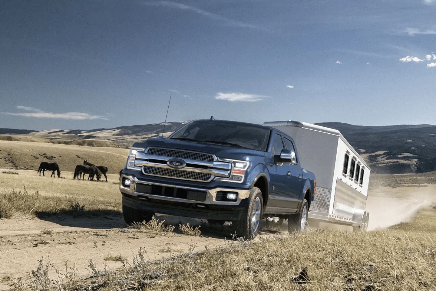 2019 Ford F-150 towing a trailer