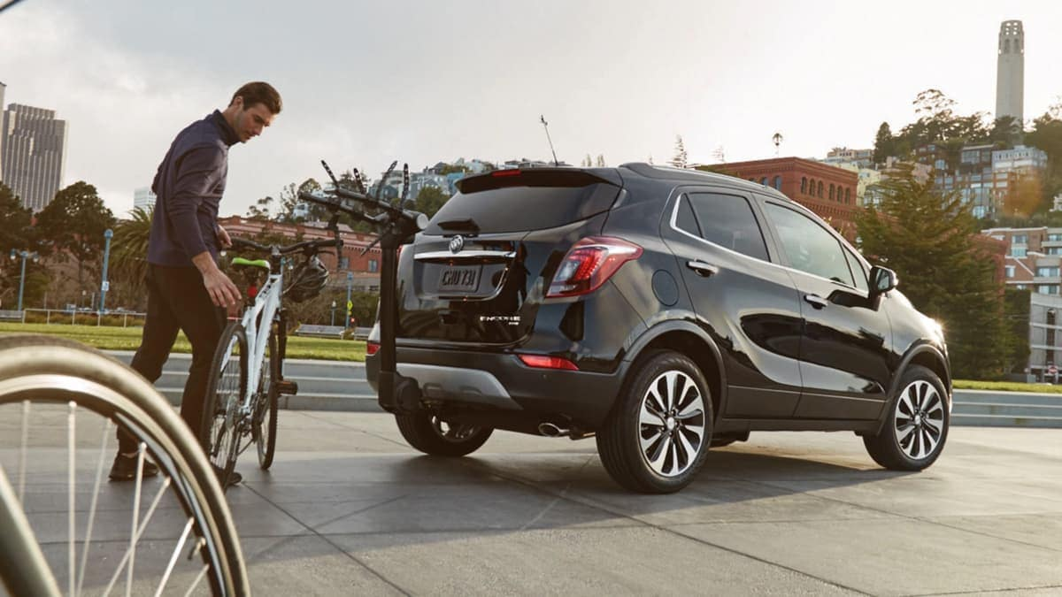 2019 Buick Encore with bike rack on trunk