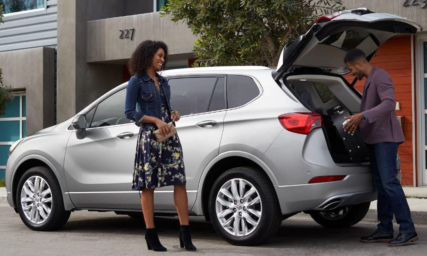 2019 Buick Envision in silver open trunk loading cargo