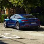 2020 porsche panamera blue exterior parked on street