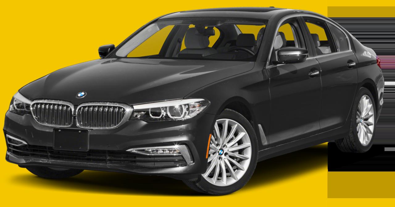 Black BMW 5 Series Yellow Background