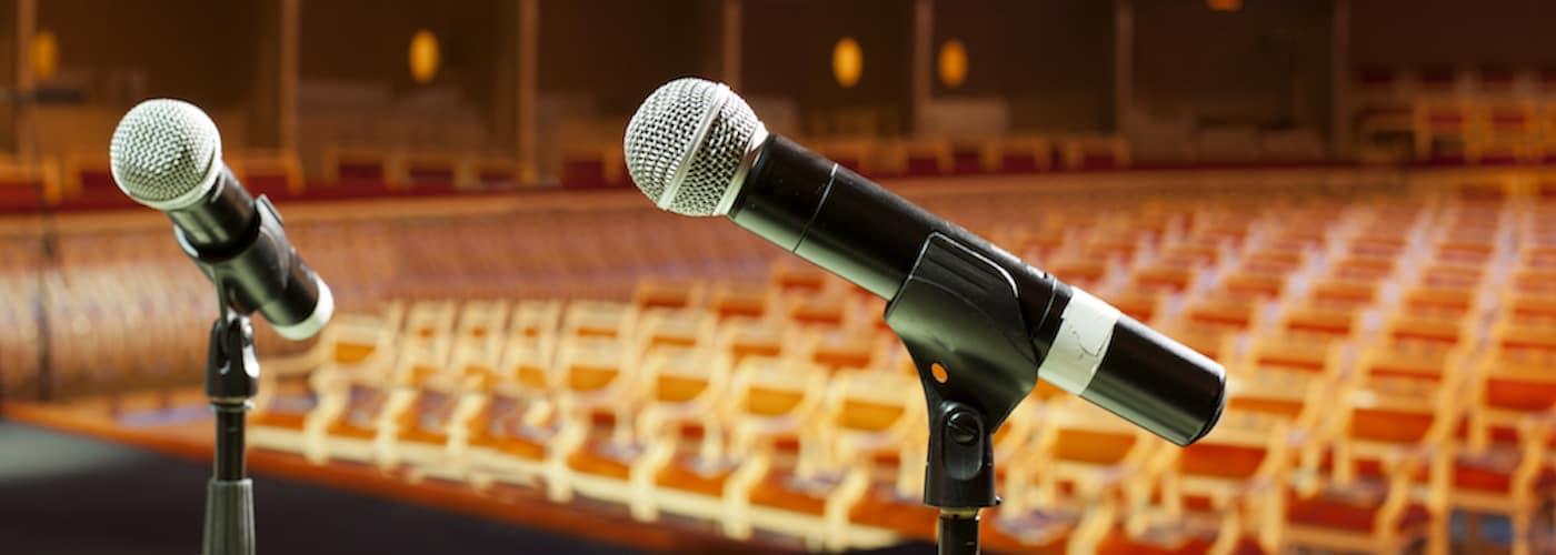 microphones in empty auditorium