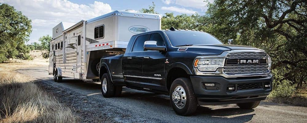 2019 ram 3500 towing rv on road