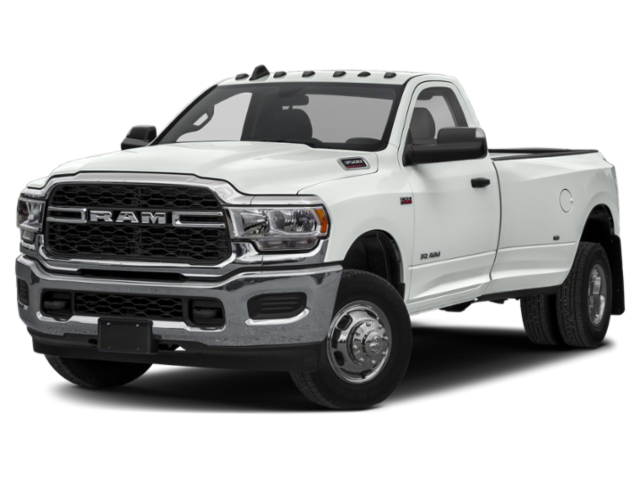 white 2019 ram 3500 side view