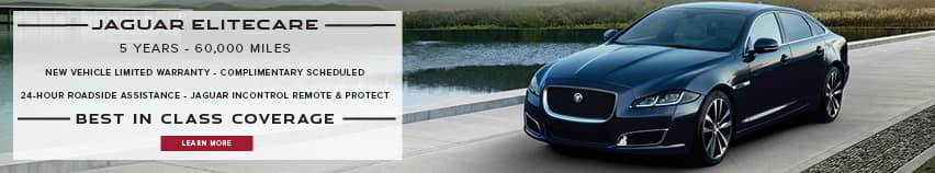 JAGUAR ELITECARE. 5 YEARS. 60,000 MILES. NEW VEHICLE LIMITED WARRANTY. COMPLIMENTARY SCHEDULED. 24-HOUR ROADSIDE ASSISTANCE. JAGUAR INCONTROL REMOTE & PROTECT. BEST IN CLASS COVERAGE. LEARN MORE. BLACK JAGUAR XJ PARKED NEAR LAKE.