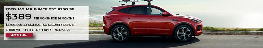 2020 JAGUAR E-PACE P250 SE. $389 PER MONTH. 36 MONTH LEASE TERM. $3,995 CASH DUE AT SIGNING. $0 SECURITY DEPOSIT. 10,000 MILES PER YEAR. EXCLUDES RETAILER FEES, TAXES, TITLE AND REGISTRATION FEES, PROCESSING FEE AND ANY EMISSION TESTING CHARGE. OFFER ENDS 9/30/2020. VIEW SPECIAL. RED JAGUAR E-PACE DRIVING DOWN ROAD NEAR BEACH.
