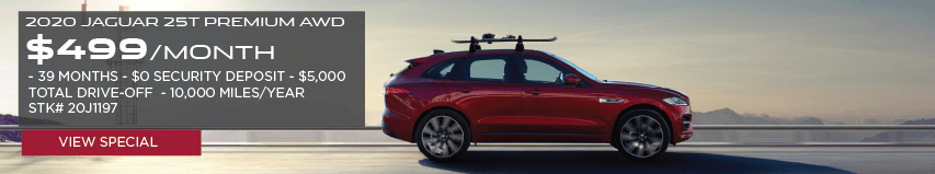 2020 JAGUAR F-PACE 25T PREMIUM AWD. $499 PER MONTH. 39 MONTH LEASE TERM. $0 SECURITY DEPOSIT. $5,000 TOTAL DRIVE OFF. 10,000 MILES PER YEAR. STOCK NUMBER 20J1197. VIEW SPECIAL. OFFER ENDS 3/31/2020. SEE DEALERSHIP FOR COMPLETE DETAILS. RED JAGUAR F-PACE DRIVING DOWN HIGHWAY ROAD WITH ROOF RACK ACCESSORY PACK.