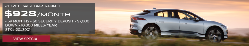 2020 JAGUAR I-PACE. $928 PER MONTH. 39  MONTH LEASE TERM. $0 SECURITY DEPOSIT. $7,000 DOWN PAYMENT. 10,000 MILER PER YEAR. STOCK NUMBER 20J3901. VIEW SPECIAL. SILVER JAGUAR I-PACE DRIVING DOWN ROAD IN COUNTRYSIDE.