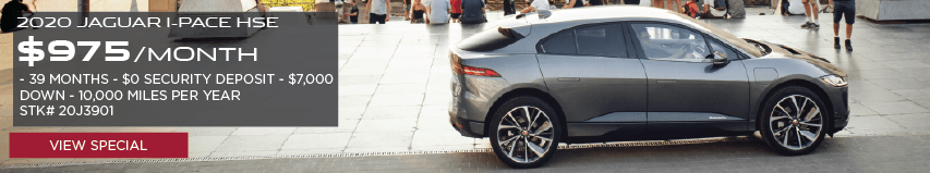 2020 JAGUAR I-PACE. $975 PER MONTH. 39 MONTH LEASE TERM. $0 SECURITY DEPOSIT. $7,000 DOWN PAYMENT. 10,000 MILER PER YEAR. STOCK NUMBER 20J3901. VIEW SPECIAL. SILVER JAGUAR I-PACE DRIVING DOWN ROAD IN COUNTRYSIDE.